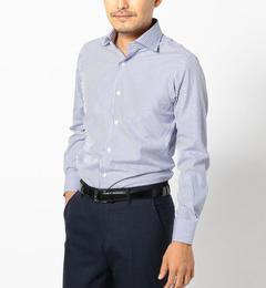 【シップス/SHIPS】 SD: ALBINI社製生地 ロンドンストライプ ワイドカラーシャツ(ネイビー) [送料無料]