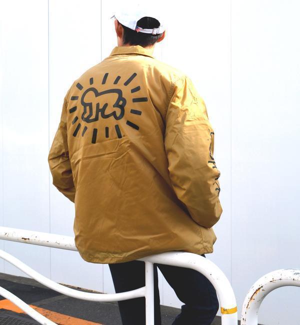 SHIPS JET BLUE: Keith Haring 裏ボアコーチジャケット【シップス/SHIPS メンズ ブルゾン・スタジャン ベージュ ルミネ LUMINE】