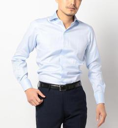 【シップス/SHIPS】 SD: ALBINI社製生地 ドビーストライプ ホリゾンタルカラーシャツ(ライトブルー) [送料無料]