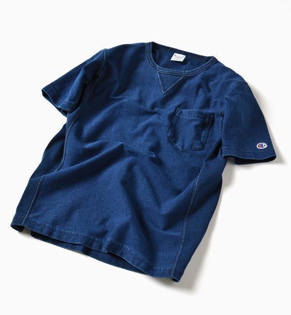 【シップス/SHIPS】 Champion×SHIPS: 別注 リバースウィーブ(R) インディゴ ジャージー ポケット Tシャツ [送料無料]