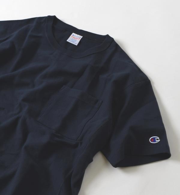 【シップス/SHIPS】 Champion×SHIPS JET BLUE: 別注 リバースウィーブ リラックスポケットTシャツ [送料無料]