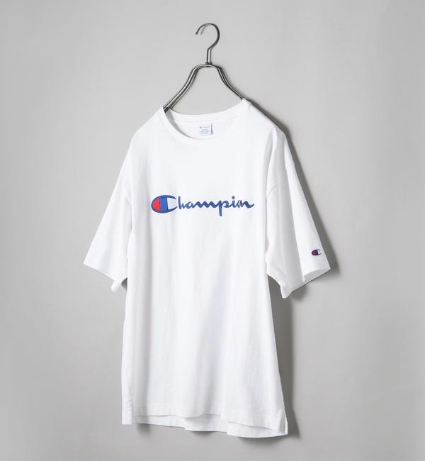 【シップス/SHIPS】 SHIPS JET BLUE×Champion: 別注 ヘビーウエイト リラックス 刺繍ロゴTシャツ