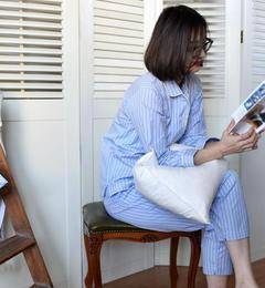 ■先行予約■SHIPS Days: シンプル ストライプ パジャマ【シップス/SHIPS レディス ルームウェア ライトブルー ルミネ LUMINE】