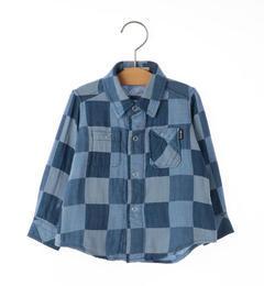 <アイルミネ> シップス厳選 SHIPS KIDS:ダブルガーゼ リバーシブル シャツ(ブルー)(80〜90cm) [3000円(税込)以上で送料無料]画像