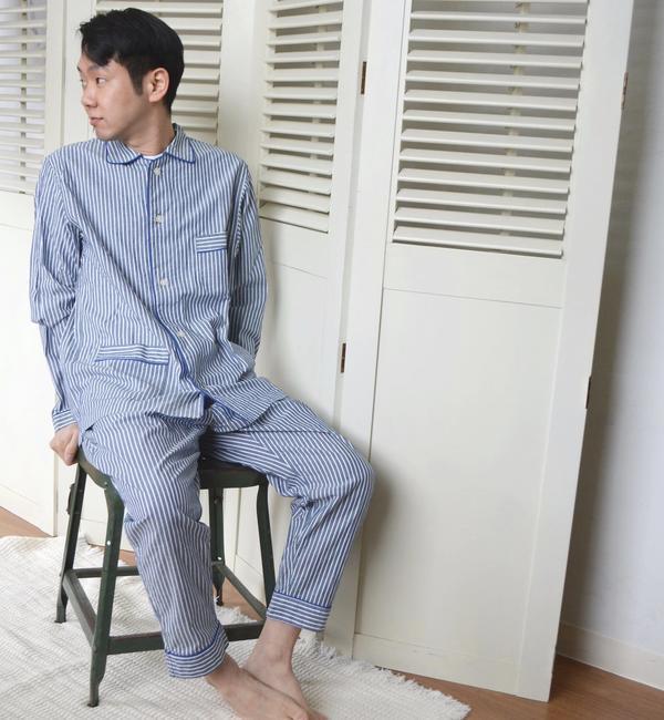 Villon'd:ストライプパジャマ【シップス/SHIPS メンズ ルームウェア ブルー ルミネ LUMINE】