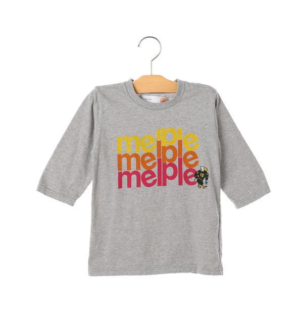 melple:プリント 7分袖 TEE(100~160cm)【シップス/SHIPS キッズ Tシャツ・カットソー グレー ルミネ LUMINE】