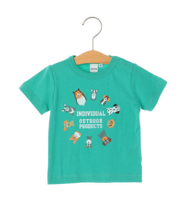 OUTDOOR PRODUCTS×SHIPS KIDS:プリント TEE(80~90cm)【シップス/SHIPS キッズ Tシャツ・カットソー ライム ルミネ LUMINE】