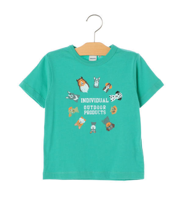 OUTDOOR PRODUCTS×SHIPS KIDS:プリント TEE(100~130cm)【シップス/SHIPS キッズ Tシャツ・カットソー ライム ルミネ LUMINE】