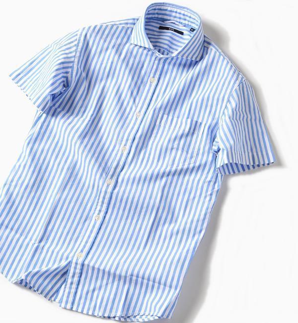 <アイルミネ> SC: カラミ セミワイドカラー ショートスリーブシャツ