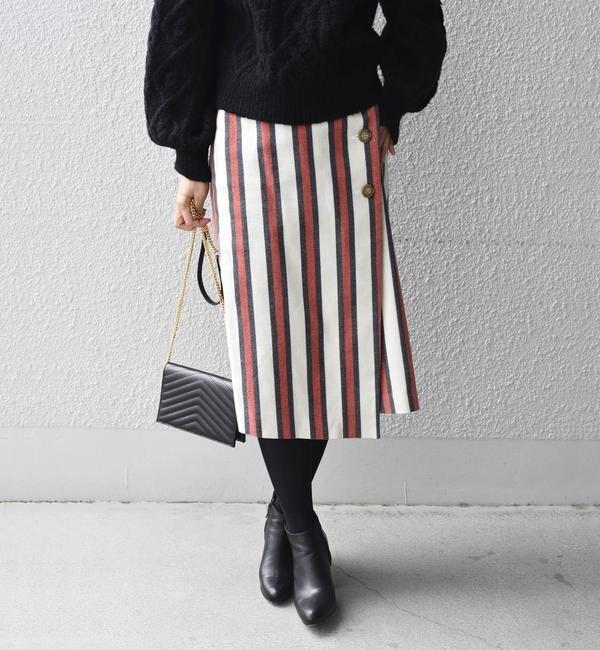 【シップス/SHIPS】 Khaju:ストライプラップタイトスカート's image