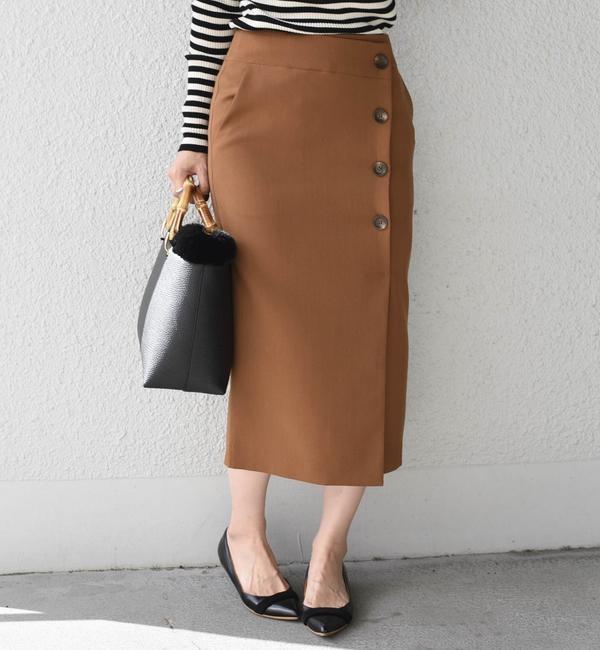 【シップス/SHIPS】 ソリッドボタンタイトスカート◇'s image