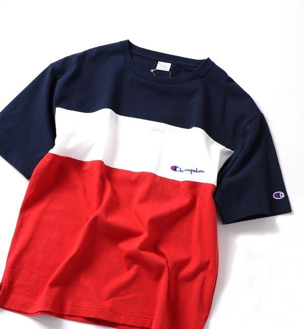 【シップス/SHIPS】 SHIPS JET BLUE×Champion: 別注 ヘビーウエイト・リラックス カラーブロック エンブロイダリーTシャツ
