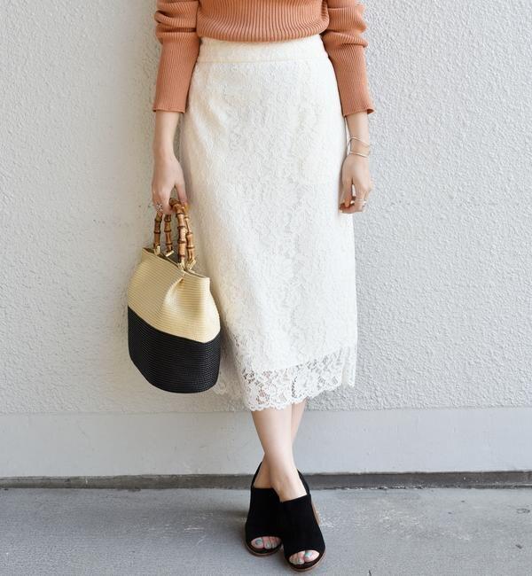 【シップス/SHIPS】 レースタイトスカート◇