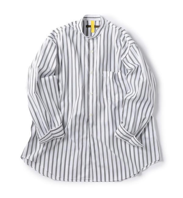 【シップス/SHIPS】 BENCH MARKING SHIRTS: バンドカラー ストライプ シャツ