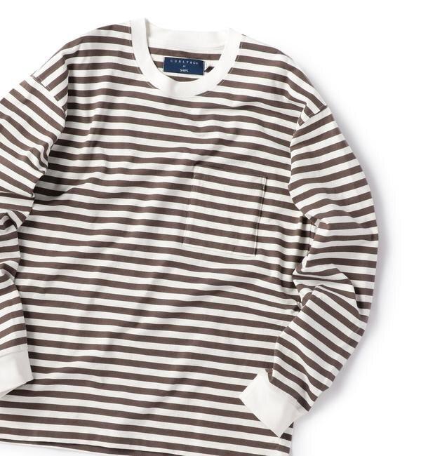 【シップス/SHIPS】 CURLY for SHIPS: 別注 フェルガナコットン ボーダー ロングスリーブTシャツ