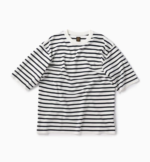 【シップス/SHIPS】 BATONER: 別注 スムース ボーダー ニット Tシャツ