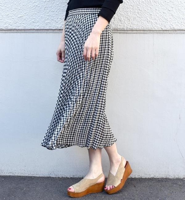 【シップス/SHIPS】 ギンガムチェックプリーツスカート