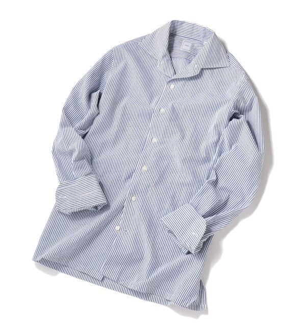 【シップス/SHIPS】 SD: SPOERRY ICE COTTON(R) ワンピース ストライプ シャツ(ブルー)