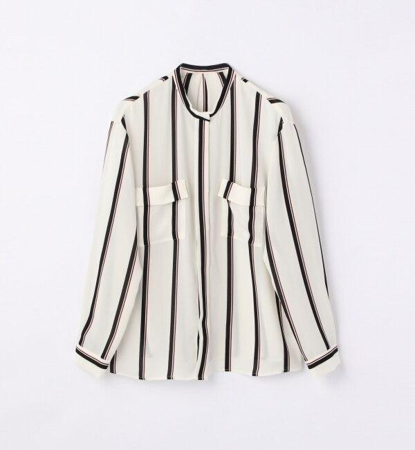 シアーツイルストライプ フロントポケットシャツ