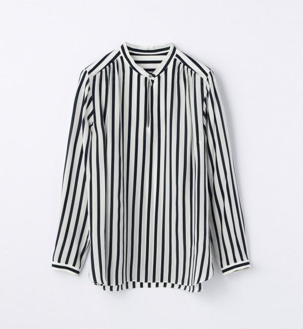 【トゥモローランド/TOMORROWLAND】 レーヨンシルクストライプ スタンドカラーシャツ [送料無料]