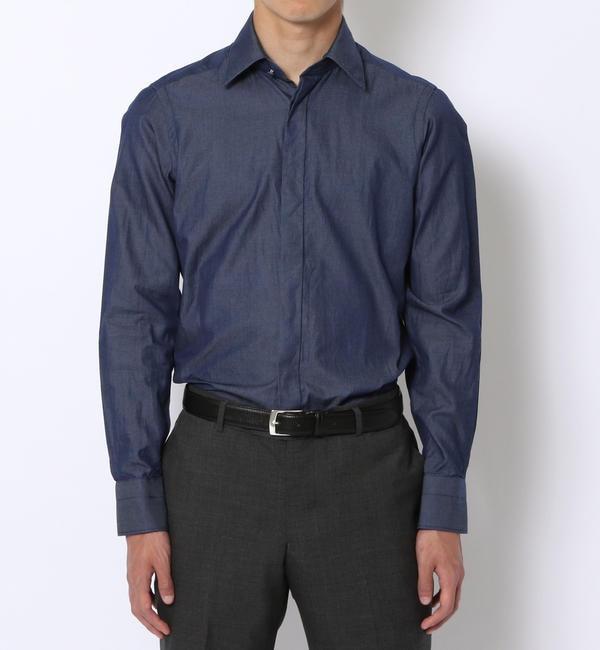 【トゥモローランド/TOMORROWLAND】 140/2インディゴツイル レギュラーカラー ドレスシャツ