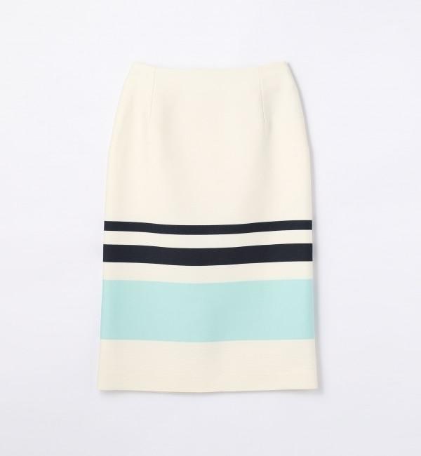 【トゥモローランド/TOMORROWLAND】 コットンパネルボーダー ミディタイトスカート [送料無料]