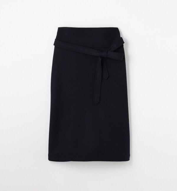 【トゥモローランド/TOMORROWLAND】 ウールジャージー ベルテッドトラペーズスカート [送料無料]