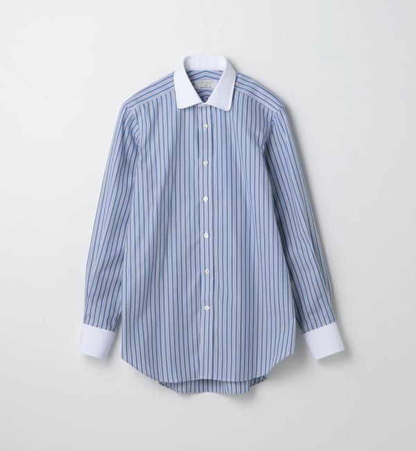 【トゥモローランド/TOMORROWLAND】 120/2コットンストライプ ラウンドカラー ドレスシャツ NEW ROUND [送料無料]