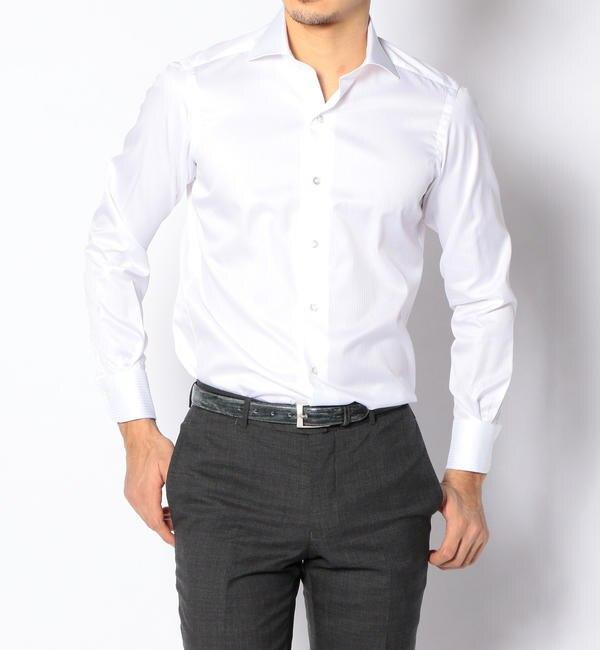 【トゥモローランド/TOMORROWLAND】 120/2コットンドビーストライプ ワイドカラー ドレスシャツ NEW WIDE-5