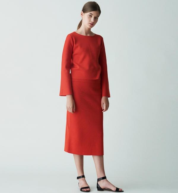 【トゥモローランド/TOMORROWLAND】 ポリエステルシルクコットン ミディタイトスカート