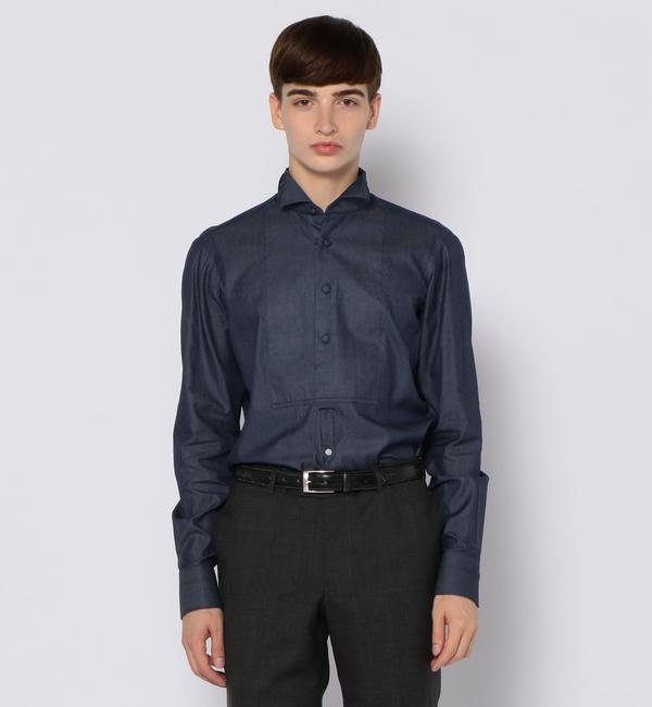 【トゥモローランド/TOMORROWLAND】 100/2インディゴツイル ウィングカラー ドレスシャツ