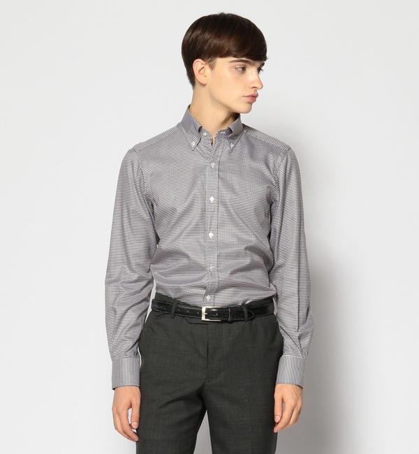 【トゥモローランド/TOMORROWLAND】 120/2コットンハウンドトゥース ボタンダウン ドレスシャツ NEW BD-4