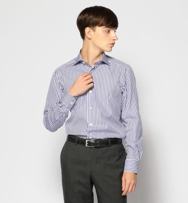 【トゥモローランド/TOMORROWLAND】 120/2コットンストライプ ワイドカラー ドレスシャツ NEW WIDE-5