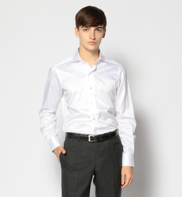 【トゥモローランド/TOMORROWLAND】 120/2コットンヘリンボーン ワイドカラー ドレスシャツ NEW WIDE-5