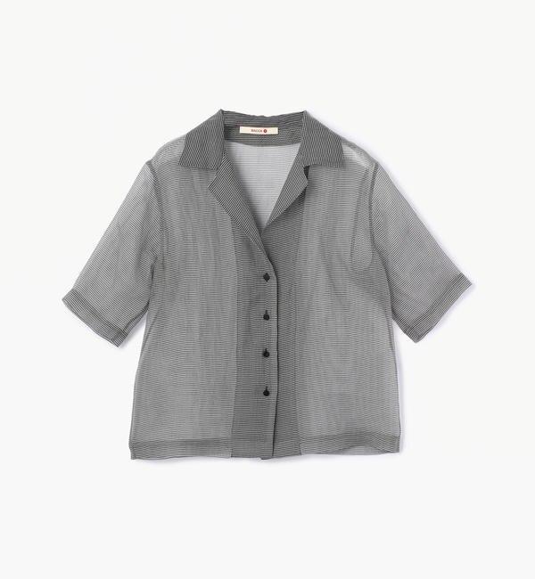 【トゥモローランド/TOMORROWLAND】 シルクギンガムチェック オープンカラーシャツ