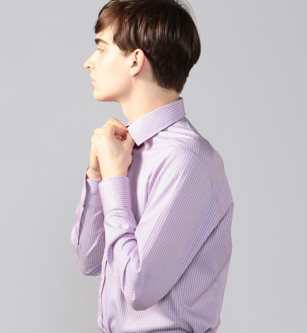 【トゥモローランド/TOMORROWLAND】 120/2コットンドビーストライプ ワイドカラー ドレスシャツ NEW WIDE-3
