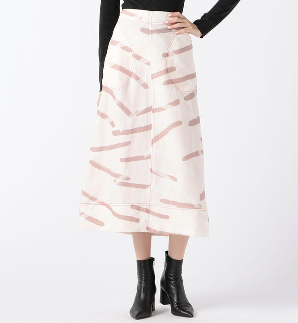 【トゥモローランド/TOMORROWLAND】 LEE MATHEWS レーヨンリネンプリント Aラインミディアムスカート