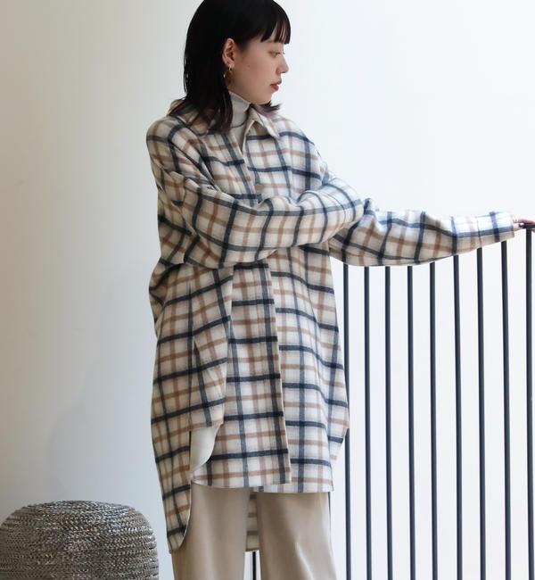 【トゥモローランド/TOMORROWLAND】 ダブルフェイスシャギー ビッグシャツ