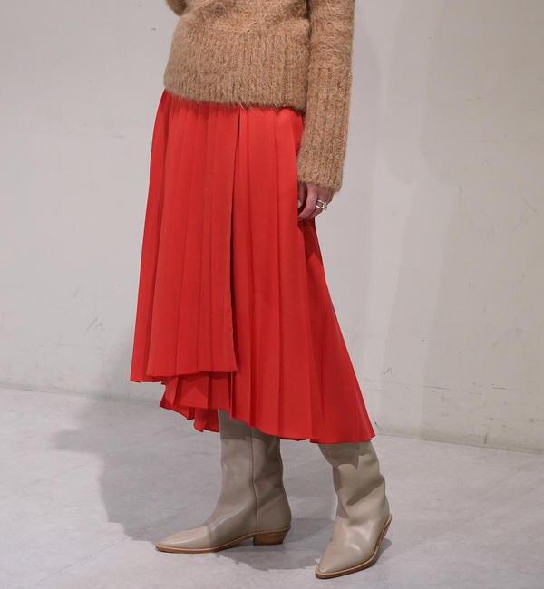 【トゥモローランド/TOMORROWLAND】 ウールプリーツ アシンメトリーラップスカート