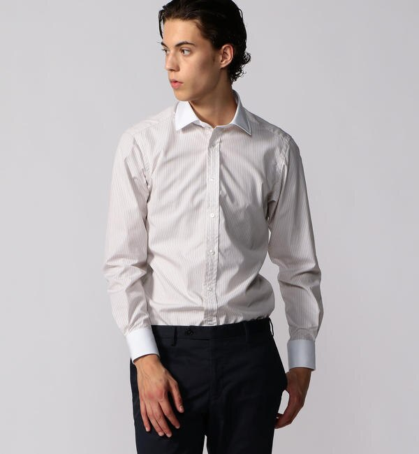 【トゥモローランド/TOMORROWLAND】 120/2コットンブロード クレリック ワイドカラー ドレスシャツ NEW WIDE-3