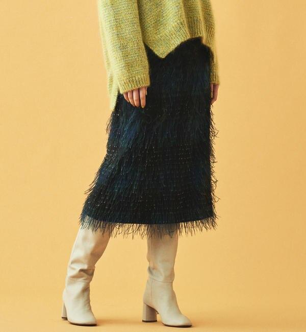 【トゥモローランド/TOMORROWLAND】 カットジャカードチェックプリント Iラインスカート