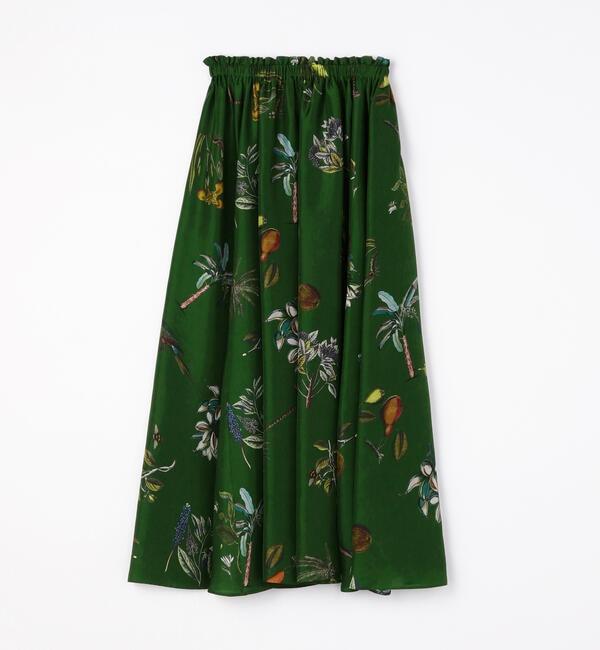 【i lumine】シルクボタニカルプリント ミディギャザースカート