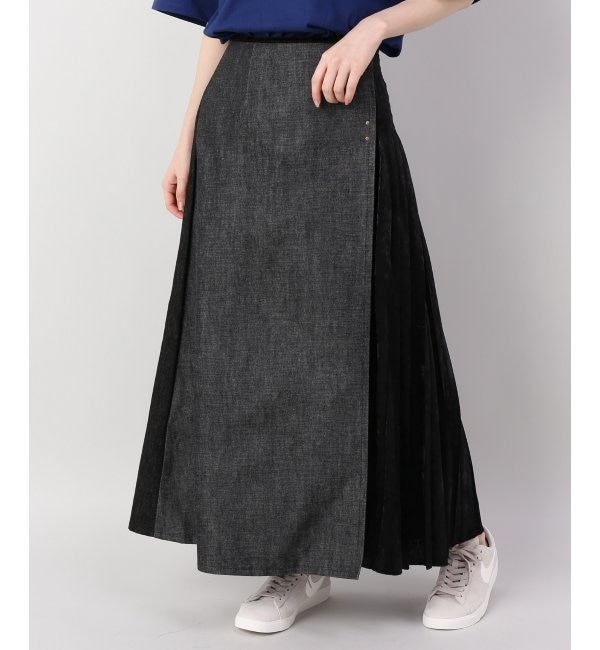 【ジャーナル スタンダード ファニチャー/journal standard Furniture】 77circa makepleating velour denim skirt