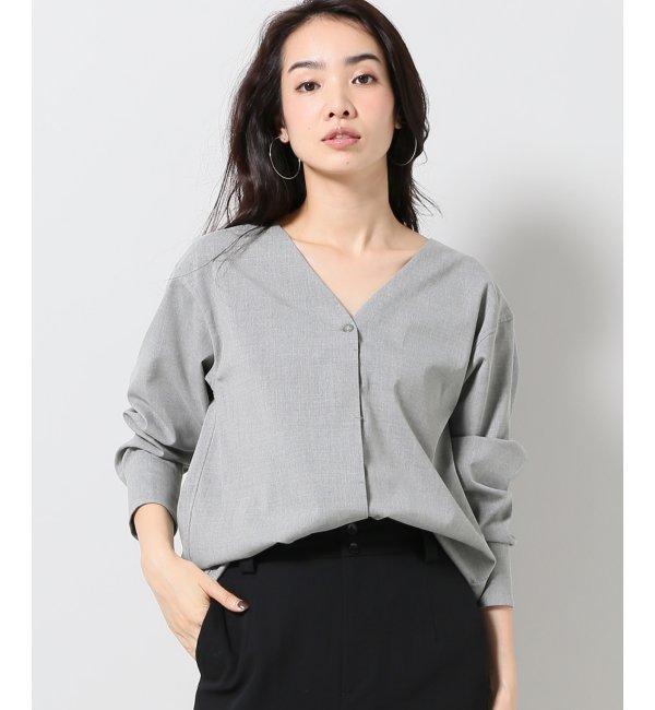 【プラージュ/Plage】 トロストレッチノーカラーシャツ◆ [送料無料]