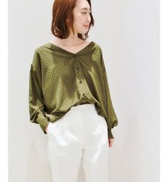 【プラージュ/Plage】ドットプリントVネックシャツ◆[送料無料]