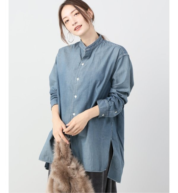 【プラージュ/Plage】 Chambray Band Collar シャツ