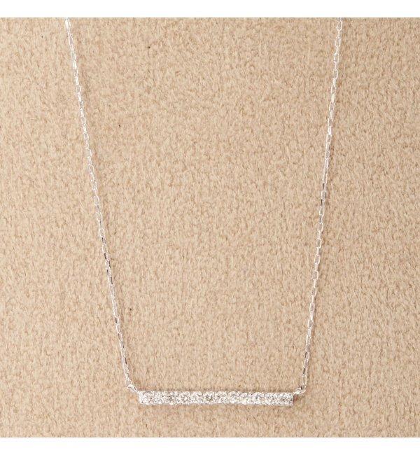 【デクーヴェルト/DECOUVERTE】 18KWG 0.1ct ダイヤ バーネックレス [送料無料]