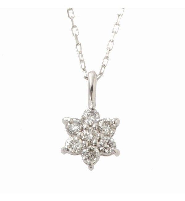 【デクーヴェルト/DECOUVERTE】 18KWG 0.1ct ダイヤモンド ネックレス [送料無料]