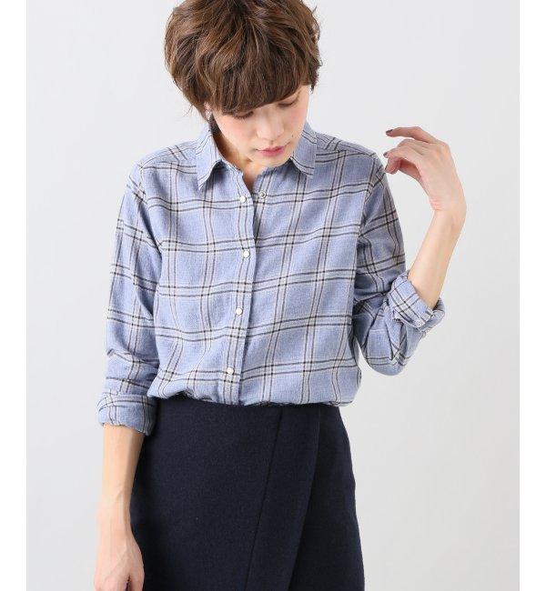 【イエナ/IENA】 ウールコンチェックレギュラーシャツ [送料無料]