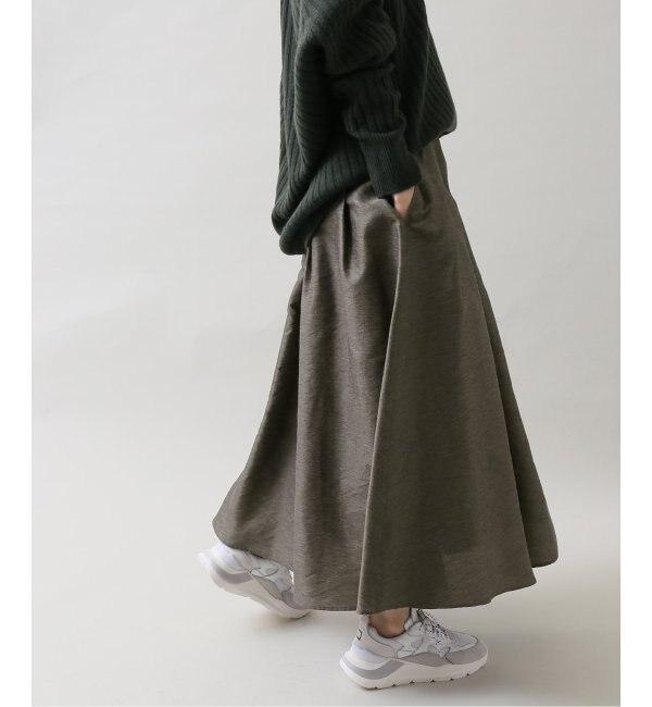 デザインシャンタンギャザーフレアスカート◆